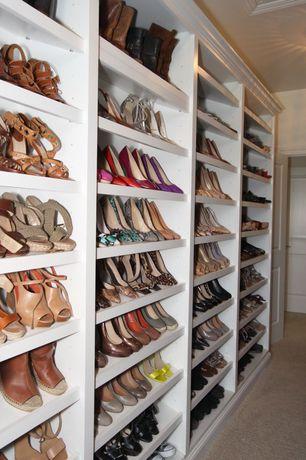 Traditional Closet with Custom bookshelf, Shoe organization, ClosetMaid Adjustable Shoe Shelves White, Walk in closet