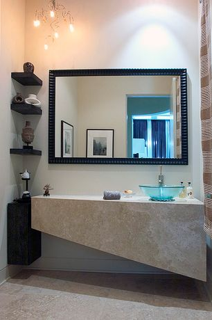 Contemporary 3/4 Bathroom with Ms international ramon grey limestone, Signature Hardware Clear Round Glass Vessel Sink