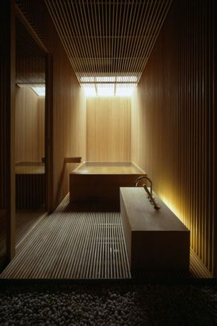 Asian Hot Tub with Wood slat floor, Skylight, Slab sink, Concrete tub, Wood slat ceiling, Wood slat wall