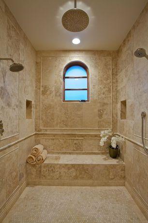 Mediterranean 3/4 Bathroom with Crema marfil marble 1x1 hexagon mosaic tile polished