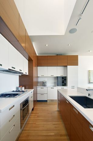 "Contemporary Kitchen with Custom hood, Kitchen island, Standard height, Schwinn hardware flush 1.5"" recessed pull, can lights"