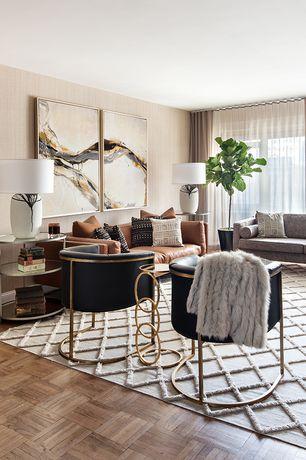 Modern Living Room with Volo Design, Inc Freeman Sofa, Signature Extra Wide Double Layer Sheer Curtain Panel, Hardwood floors