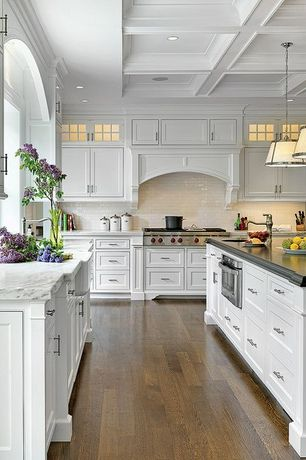Contemporary Kitchen with Inset cabinets, Pendant light, Farmhouse sink, Clemson Single Pendant, Subway Tile, Hardwood floors