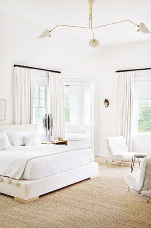 Contemporary Master Bedroom with Chandelier, White leather-look queen size bed, Carpet