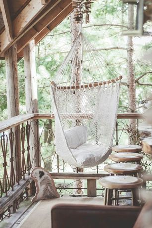 Rustic Porch with Porch swing, Wrap around porch, Novica Maya Artists of the Yucatan Cotton Hammock Swing