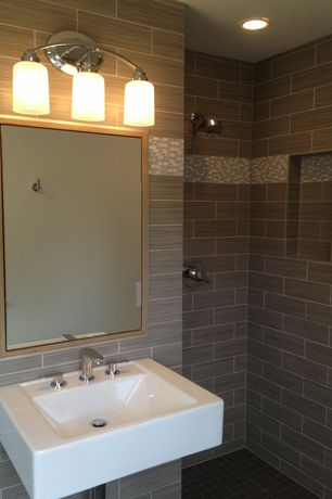 Contemporary 3/4 Bathroom with Florim USA Stratos Porcelain Tile - Cenere, Wall mounted sink