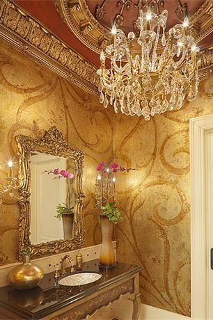 Traditional Powder Room with Limestone, Crown molding, Wall sconce, Italian baroque-style carved gilt mirror, High ceiling