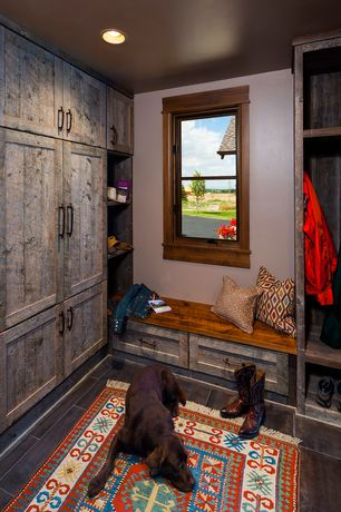 Eclectic Mud Room with Wood bench, Built in bench, double-hung window, Reclaimed wood, Paint 1, Standard height, can lights