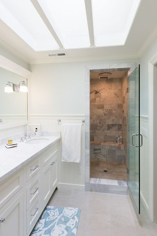 Traditional Master Bathroom with Undermount sink, Master bathroom, Wainscotting, Crown molding, Standard height, Double sink
