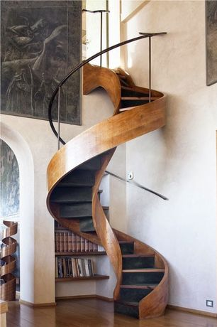 Contemporary Staircase with Built-in bookshelf, Spiral staircase, High ceiling, Hardwood floors