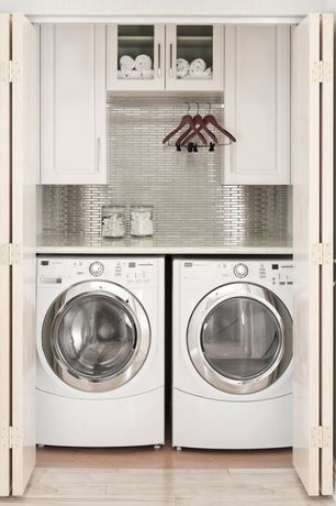 Contemporary Laundry Room with Hotel Collection Medium Glass Jar, Subway tile outlet stainless steel mosaic tile 1x2