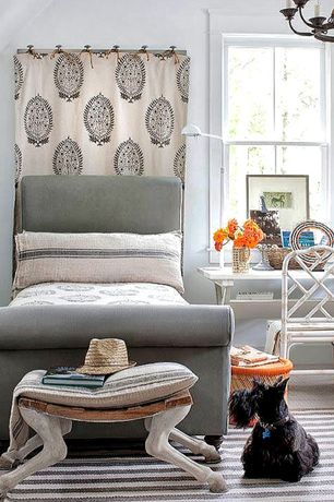 Eclectic Kids Bedroom with Day bed, Carpet, Tabouret chevre goat bench, Chandelier, double-hung window, Standard height