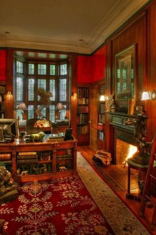 Traditional Library with Design toscano michelangelo buonarroti bust, Built-in bookshelf, Crown molding, Window seat