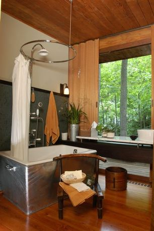 Eclectic Full Bathroom with Paint 1, Wall sconce, Full Bath, shower bath combo, picture window, Standard height, Vessel sink