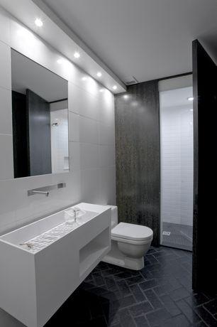"Contemporary 3/4 Bathroom with South cypress 4"" x 16"" black matte tile, frameless showerdoor, herringbone tile floors"