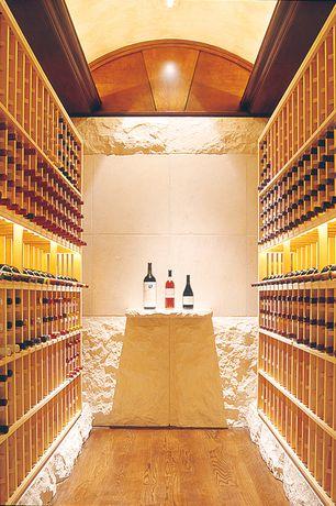 Contemporary Wine Cellar with Built-in bookshelf, Hardwood floors, can lights, Standard height