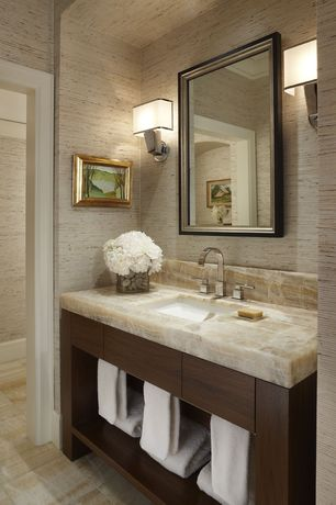 Full Bathroom with Onyx vanity, Possini euro - contempo brushed steel high wall sconce, Paint, Onyx counter