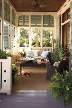 Country Porch with Screened porch, Paint, Square wicker coffee table, French doors, specialty window, Wicker arm chair