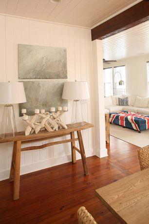 Cottage Hallway with can lights, Hardwood floors, Standard height