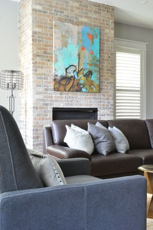 Modern Living Room with Pottery barn cameron leather sofa, Carpet, Plantation shutters