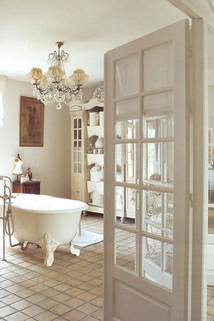 Cottage Master Bathroom with Shades of light vieux quartier crystal chandelier, Master bathroom, Chandelier, Clawfoot