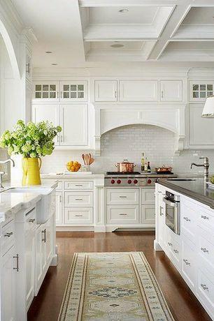 Traditional Kitchen with Pental aspen honed marble, Kitchen island, lancaster 3x6 bianco polished ceramic subway tile