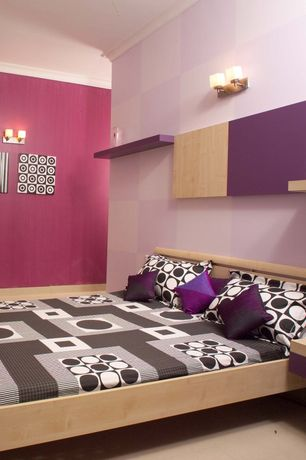 Contemporary Kids Bedroom with Built-in bookshelf, Wall sconce, no bedroom feature, Carpet, Crown molding, Standard height