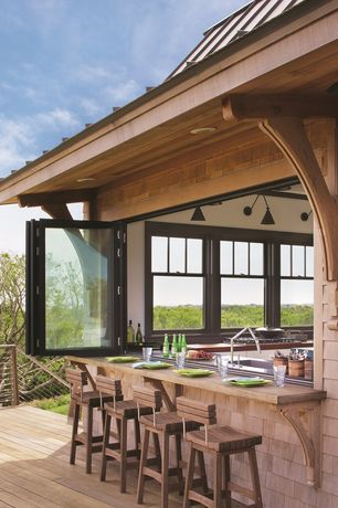Contemporary Bar with Bi-fold glass window, can lights, Casement, Indoor/outdoor living, Standard height, Indoor/outdoor bar