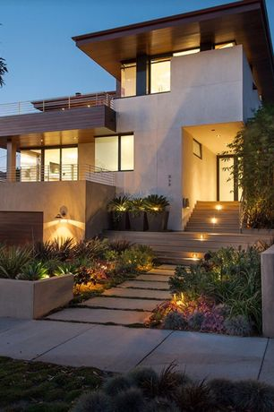 Modern Exterior of Home with Pathway, Accent landscape lighting
