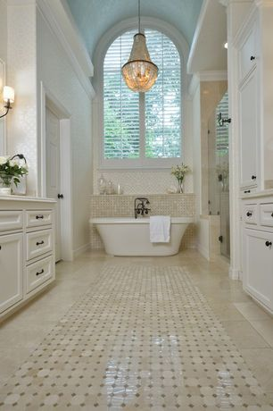 Contemporary Full Bathroom with Arched window, Daltile Salerno Grigio Perla Ceramic Octagon Mosaic Floor and Wall Tile