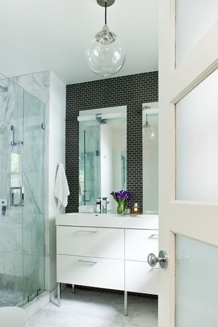 Contemporary Master Bathroom with Ikea Godmorgan Sink Cabinet with Four Drawers, Undermount sink, Double sink, Marble Tile