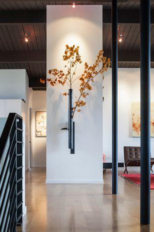 Asian Hallway with flush light, Columns, Exposed beam, Hardwood floors, High ceiling
