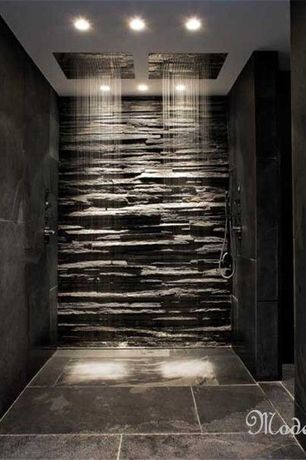 Modern Master Bathroom with Solistone Portico Slate Alcazar 6 in. x 23-1/2 in. Natural Stone Wall Tile, Shower, Rain shower