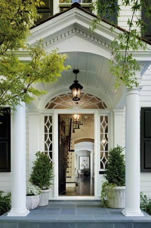 Traditional Entryway with French doors, Columns, Paint 2, Standard height, Concrete tile , Paint 1, Arched window