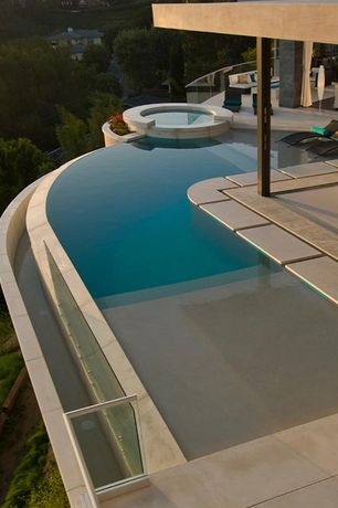 Modern Swimming Pool with Pathway, Pool with hot tub, Infinity pool, exterior tile floors