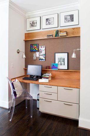 Contemporary Home Office with Built-in bookshelf, Crown molding, Catherine 1-light satin chrome wall sconce, Hardwood floors
