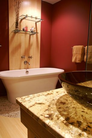 Modern Full Bathroom with Jeffrey Court - Emperador River Rocks 12 in. x 12 in. x 8 mm Marble Mosaic Floor/Wall Tile