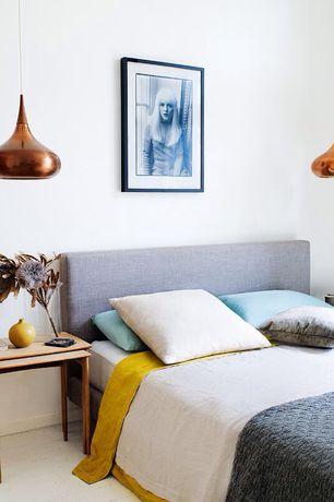 Contemporary Master Bedroom with Carpet, Arteriors Mario Pendant, World Market - Linen Loran Headboard, Pendant light