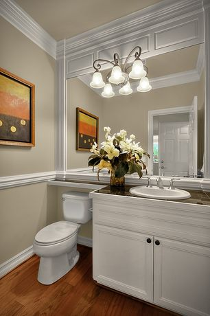 "Traditional Powder Room with Flush, Crown molding, Flat panel cabinets, 48"" broden creamy white vanity for undermount sink"