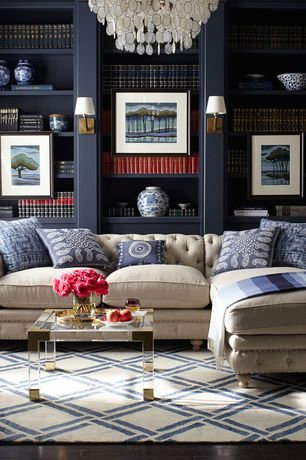 Traditional Living Room with Restoration hardware petite kensington upholstered right-arm chaise sectional, Hardwood floors