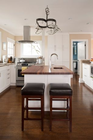 Traditional Kitchen with Handscraped Saratoga Hickory 7 mm Thick x 7-2/3 in. Wide x 50-5/8 in. Length Laminate Flooring
