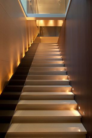 Contemporary Staircase with High ceiling, Skylight, Floating staircase