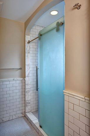 "Craftsman 3/4 Bathroom with MARBLE 2"" X 12"" - BIANCO VENATINO HONED CHAIR RAIL, MARBLE 6"" X 18"" - BIANCO VENATINO HONED TILE"