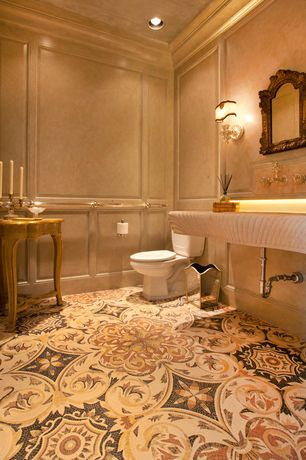 Traditional Powder Room with can lights, Design Toscano Hapsburg Mirror, Vinyl floors, Paint 1, Undermount bathroom sink