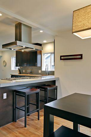 Contemporary Kitchen with European Cabinets, Casement window, Goose neck faucet, Quartz countertop, Hardwood floors