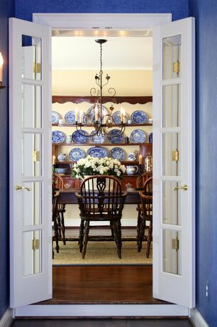 Traditional Dining Room with Hardwood floors, Paint, Paint 3, French doors, Paint 2, Crown molding, Chandelier