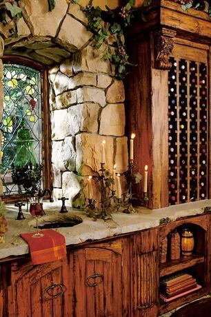 Rustic Wine Cellar with High ceiling, Built-in bookshelf