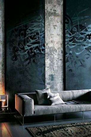 Contemporary Living Room with Islamic Calligraphy Canvas Art, High ceiling, calligraphy wall art, Bobby Berk Home Lacy Sofa