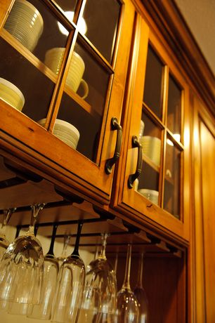 Craftsman Kitchen with Glass cabinet door, Amerock Brass and Sterling Tradition
