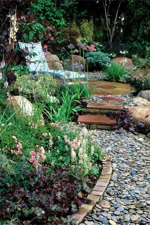 Cottage Landscape/Yard with Mtn. River Jax River Rock, Golden Granite Cobbles, exterior stone floors, Pathway, Raised beds